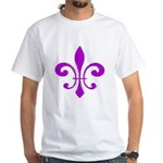 Fleur De Lis Purple White T-Shirt