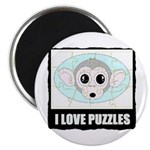 I LOVE PUZZLES MONKEY LOOK Magnet