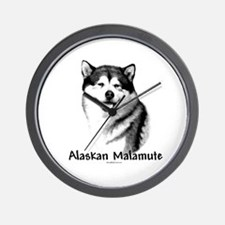 Malamute Charcoal Wall Clock