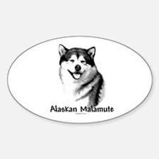 Malamute Charcoal Oval Decal