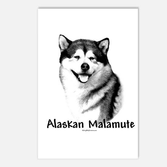 Malamute Charcoal Postcards (Package of 8)