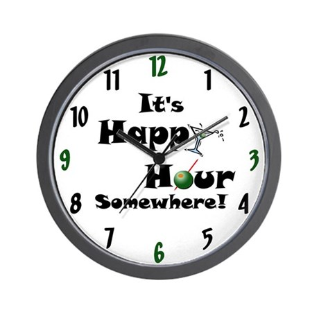 It's Happy Hour Somewhere! Wall Clock