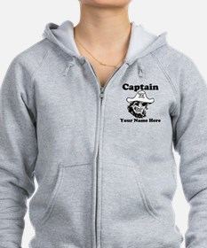Custom Captain Pirate Zip Hoodie