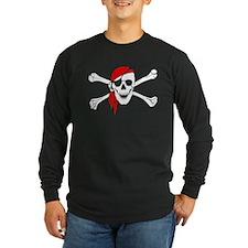 Skull And Bones Red Bandana Long Sleeve T-Shirt