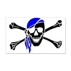 Skull And Bones Blue Bandana Wall Decal