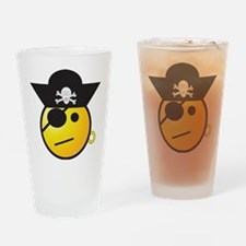 Smiley Face Pirate Drinking Glass