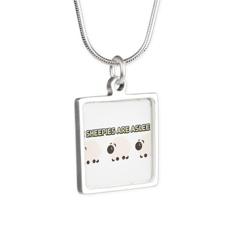 The Sheepies Are Asleepies Silver Square Necklace