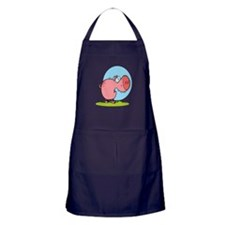 funny fat piggy pig looking scared cartoon Apron (