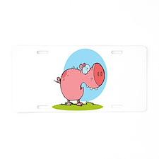 funny fat piggy pig looking scared cartoon Aluminu