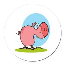 funny fat piggy pig looking scared cartoon Round C