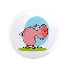 "funny fat piggy pig looking scared cartoon 3.5"" Bu"