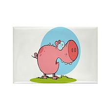 funny fat piggy pig looking scared cartoon Rectang
