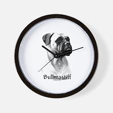 Bullmastiff Charcoal Wall Clock