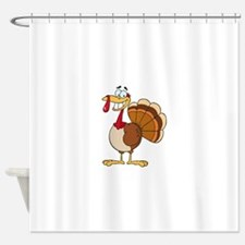 funny grinning happy turkey cartoon Shower Curtain