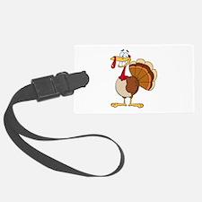 funny grinning happy turkey cartoon Luggage Tag