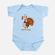 funny grinning happy turkey cartoon Infant Bodysui