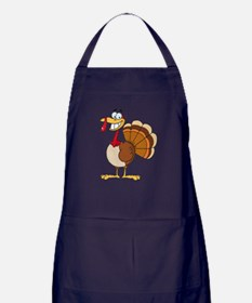 funny grinning happy turkey cartoon Apron (dark)