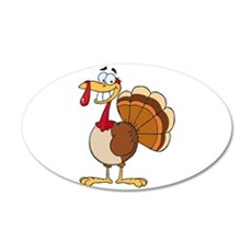 funny grinning happy turkey cartoon 20x12 Oval Wal