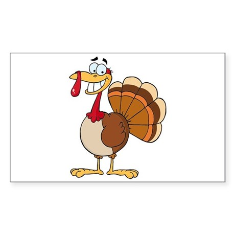 Funny Grinning Happy Turkey Cartoon Decal By Doonidesigns