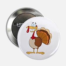 "funny grinning happy turkey cartoon 2.25"" Button ("