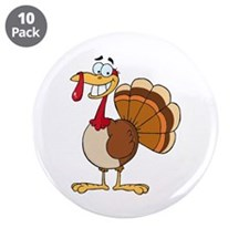 "funny grinning happy turkey cartoon 3.5"" Button (1"