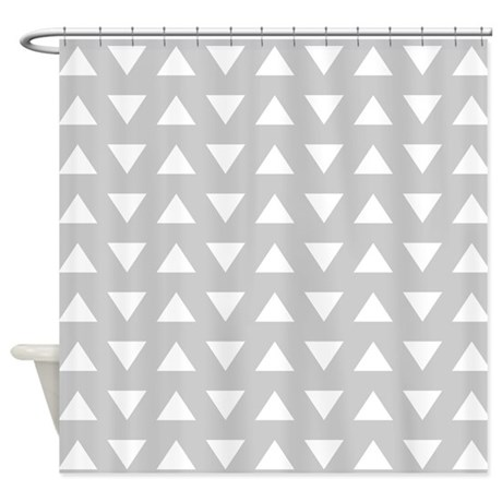 Gray Geometric Pattern Shower Curtain By Metarla3