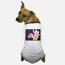 Plumeria pink yellow white on black Dog T-Shirt