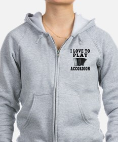 I Love Accordion Zip Hoodie