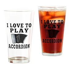 I Love Accordion Drinking Glass