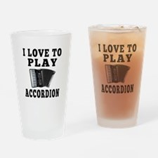 I Love Accordion Drinking Glass