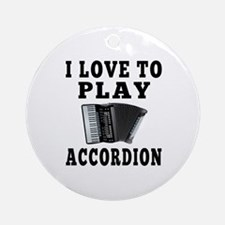I Love Accordion Ornament (Round)