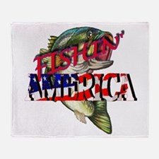 Fishing America Throw Blanket