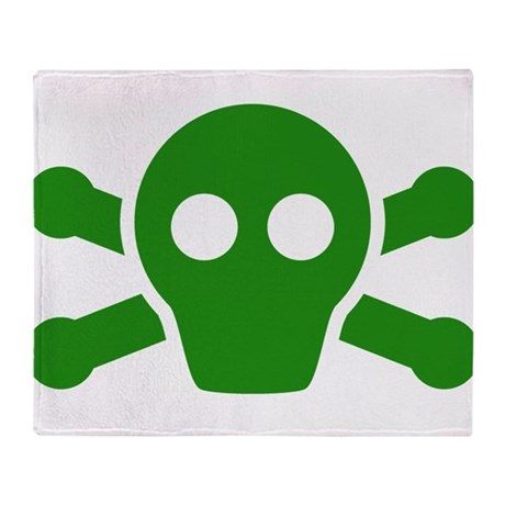 Green Gas Mask Skull Throw Blanket By Kevspirates