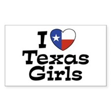 I Love Texas Girls Rectangle Decal