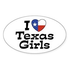 I Love Texas Girls Oval Decal