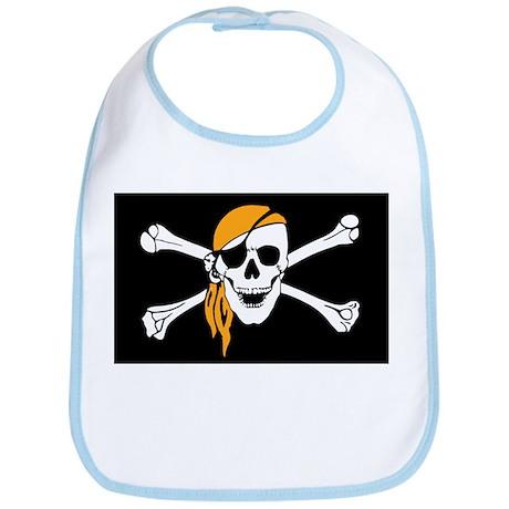 Orange Bandana Pirate Flag Bib