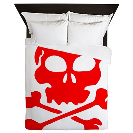 Red Skull And Crossbones Queen Duvet By Kevspirates