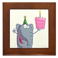 funny happy birthday elephant cartoon Framed Tile