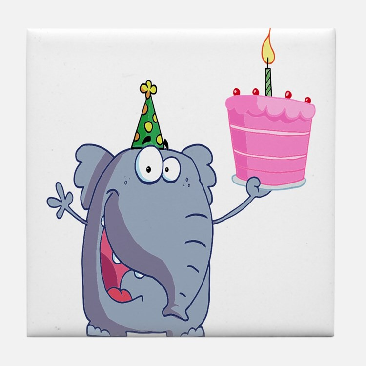 funny happy birthday elephant cartoon Tile Coaster