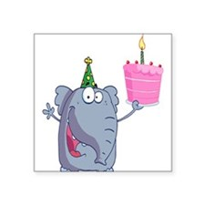 funny happy birthday elephant cartoon Square Stick