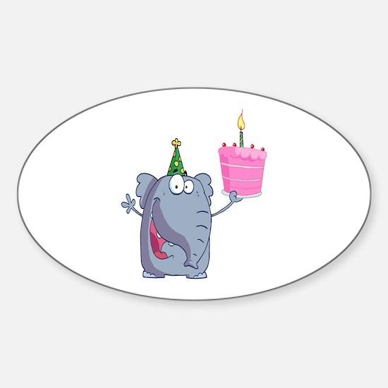 funny happy birthday elephant cartoon Decal