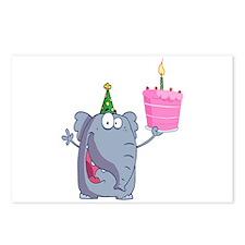 funny happy birthday elephant cartoon Postcards (P