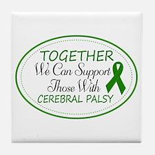 Cerebral Palsy Support Ribbon Tile Coaster