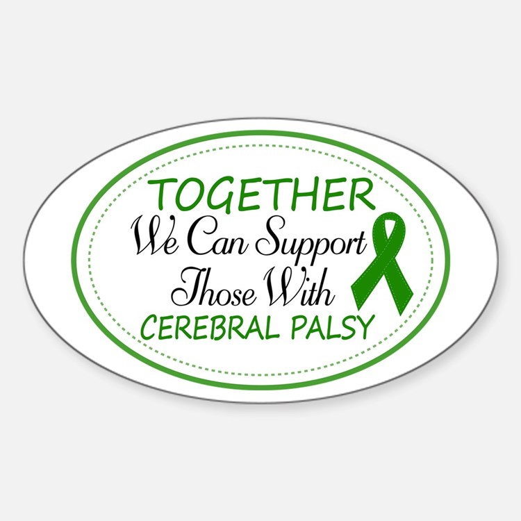 Cerebral Palsy Support Ribbon Sticker (Oval)
