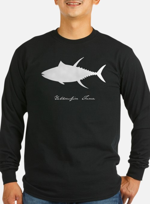 yellowfin tuna with text WHITE ON CLEAR T