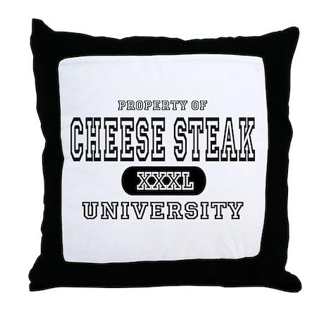 Cheese Steak University T-Shirts Throw Pillow