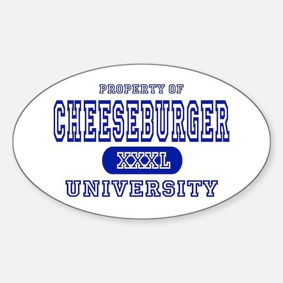 Cheeseburger University Oval Decal