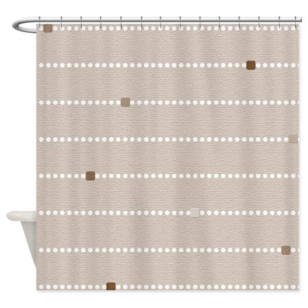 Beige Dots And Stripes Shower Curtain By Cheriverymery