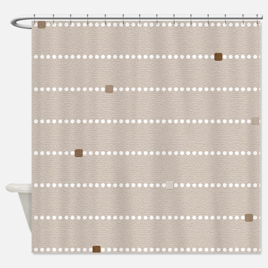 Beige Dots and Stripes Shower Curtain