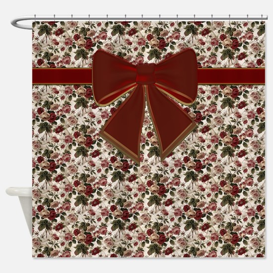 Vintage Flowers With Red Bow Shower Curtain